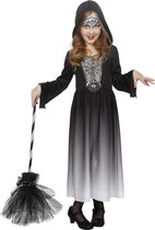 Heks & Spider Lady & Voodoo & Duistere Religie Kostuum | Duistere Halloween Jurk Met Capuchon Meisje | Maat 152 | Halloween | Verkleedkleding