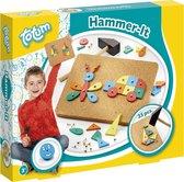 Totum Hamertje Tik - Hammer It hamerspel - 25-delig houten timmerset inclusief hamer - leren timmeren
