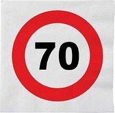 48x 70 jaar leeftijd themafeest servetten verkeersbord 33 x 33 cm - 70e verjaardag papieren wegwerp tafeldecoraties