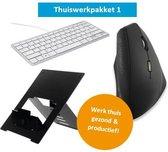 Thuiswerkpakket Demasko - Computerwerkplek - Werkplek thuis - Ergonomisch werkpakket - Ergonomische muis, Compact toetsenbord en Laptopstandaard