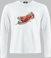 Longsleeve M Lage sneakers in rood - Wit - M - M Sportshirt