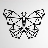 LINE ART, VLINDER - Vlinder zwart - Wanddecoratie - Hout -  XL 80 cm