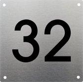 RVS Huisnummer 20x20cm nummer 32