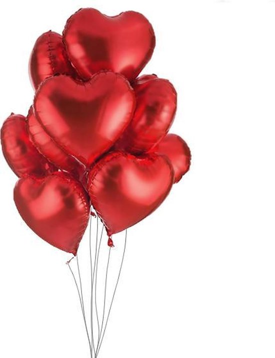 Valentijn Versiering – Hartjes Ballonnen – 5 Stuks – Folie Satijn Rood