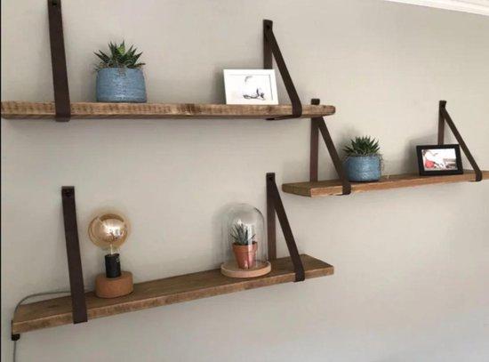 Wandplank Steigerhout met Zwarte leren Riemen