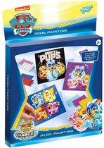 Paw Patrol Pixel set - mozaïkkunst maken - 3 kaarten versieren met meer dan 500 metallic pixels - Totum knutselset