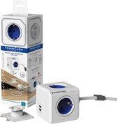 PowerCube Extended Duo USB - 1.5 meter kabel - Wit/Blauw - 4 stopcontacten - 2 USB laders - NL\/DE (Type F)