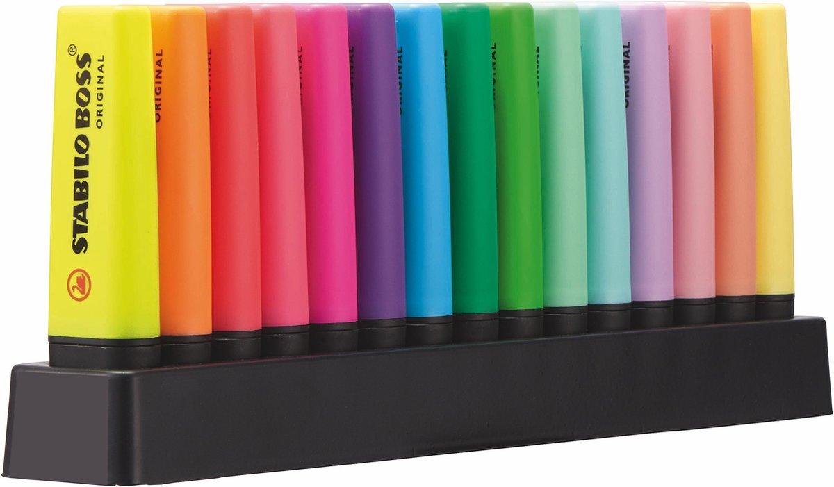 STABILO BOSS ORIGINAL – Markeerstift – 15 Stuks Deskset - 9 Standaard + 6 Pastel Kleuren