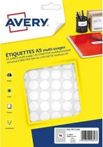 etiket Avery A5 15mm rond blister 168st wit