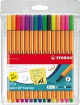 STABILO point 88 - Fineliner 0,4 mm - 15 Stuks Etui - 10 Standaard + 5 Neon Kleuren