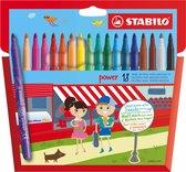 STABILO Power -Viltstift - Tot 8 Weken Zonder Dop - Etui Met 18 Kleuren