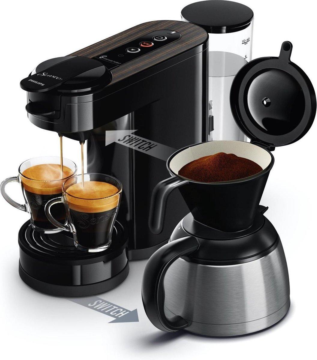 Philips Senseo Switch HD659620 Koffiepadapparaat & Thermoskan ZwartHout