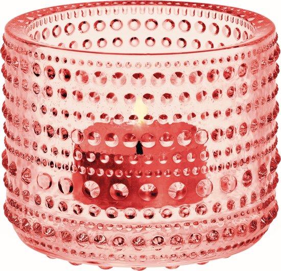 Iittala Kastehelmi - Waxinelichtjeshouder - Sfeerlicht - h 6.4 cm - Zalmroze
