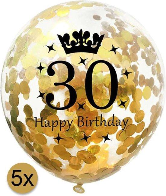5 stuks confetti ballonnen | 30 jaar | Happy Birthday | Gouden Confetti | Verjaardag | Versiering