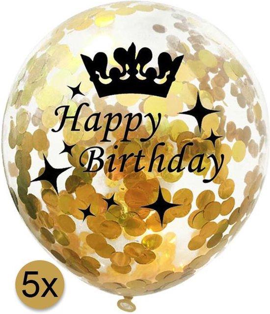 5 stuks confetti ballonnen | Happy Birthday | Gouden Confetti | Verjaardag | Jongens | Meisjes | Kinderen | Volwassenen | Versiering