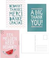 Wenskaarten set 3 stuks bedankt kaarten bedankkaarten met envelop meloen keer bedankt
