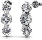 Yolora dames oorbellen met Swarovski kristallen – Witgoud verguld – YO-398