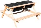 Sunny Dual Top 2.0 Zand & Water Picknicktafel - FSC Hout - Krijtbord en 2 zwarte bakken