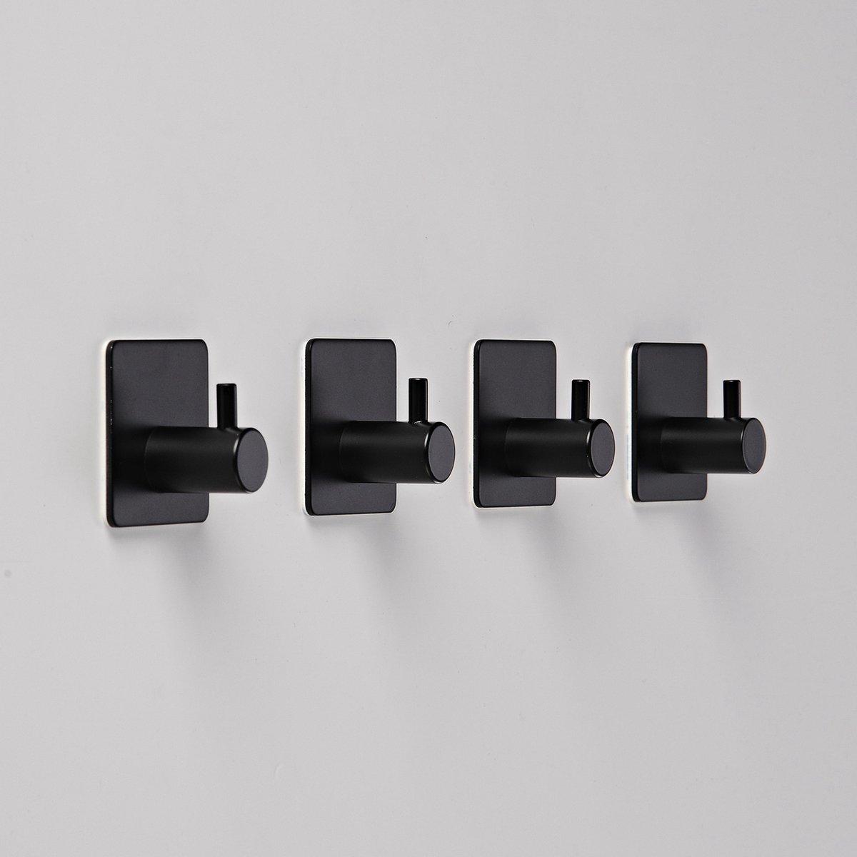 Handdoekhaakjes - Badkamer Zelfklevend   4 Stuks   RVS - Zwart