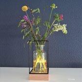 Gadgy Vaaslamp - Vaas met LED verlichting – Houten basis met 5 LED lampjes, glazen vaas en zwart metalen frame – Werkt op 3 AAA batterijen (excl.) – 11 x 11 x 22 cm.