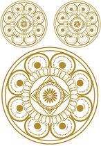 Muurstickers, 3 gouden Mandala cirkels, Bloem des Levens Mandala, folie met een goudkleurige bedrukking, verwijderbaar, DIY en styling, Wall Art, woonkamer, slaapkamer, yogaruimtes, 2 maten, 3 plakstickers op 1 vel van 70 x 50 cm