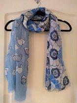 Gebloemde sjaal in de kleuren blauw en wit