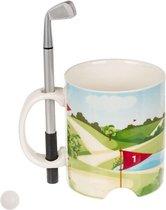 MikaMax Golf Mok met Golfstick Pen en Golfballetje - Beker - Mok - Golf Accessoires - 400 Gram