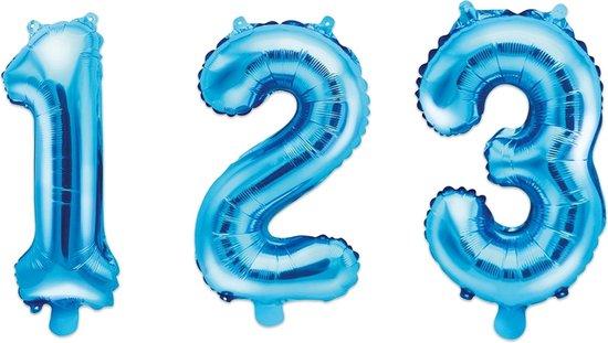 PARTYDECO - Aluminium blauwe cijfer ballon - Decoratie > Ballonnen
