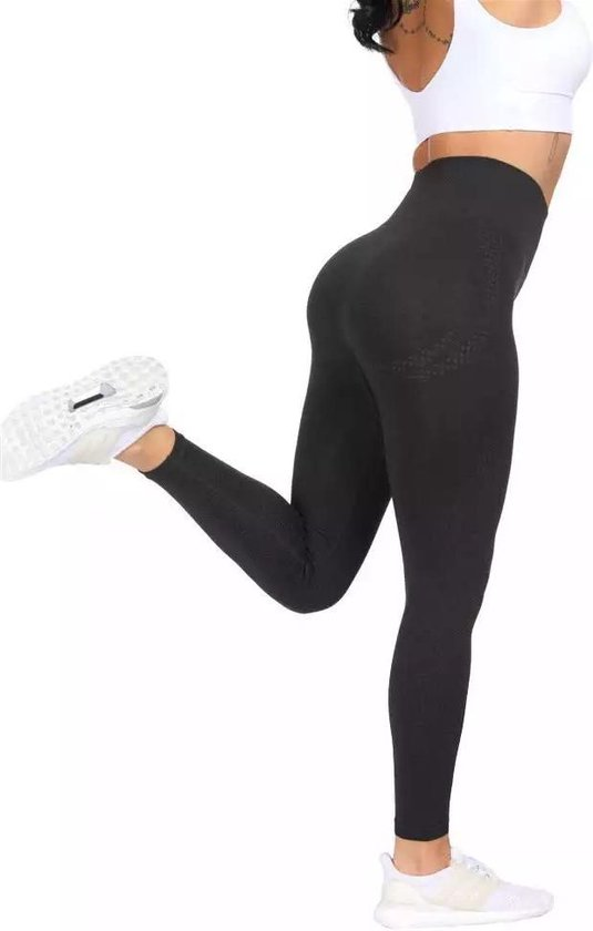 LOUZIR Fitness/Yoga legging - Fitness legging - sport legging Stretch - squat proof - Zwart - Naadloos - Maat S