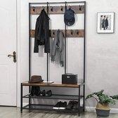 MIRA Home XXL Garderoberek - Kapstok met zitbankje en schoenenrek - 12 haken - Industrieel - Vintage - Bruin/zwart - 100x40x186