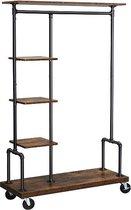 MIRA Home - Kledingrek op wieltjes - Kledingstandaard - Vintage - Hout - Zwart - 103.5 x 40 x 174.5