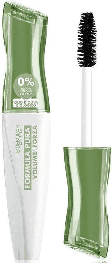 Deborah Milano Formula Pura Volume & Forza Mascara - Volume mascara voor de gevoelige ogen - 96% natuurlijke ingrediënten - Beschermend en voedend - Zwart - 12 ml