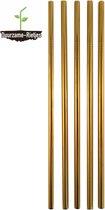 Roestvrijstalen rietjes  goud | 3 st. recht | RVS rietjes | Herbruikbare rietjes | Metalen rietjes | Plastic vervanger | Duurzame Rietjes | Gratis verzending | Incl. schoonmaakborstel | Gouden rietjes