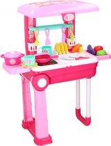 Eddy Toys - 2-in-1 speelkeuken en trolley - met licht en geluid - diverse accessoires