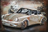 3D Metaalschilderij - Sportwagen Zilver Porsche 911 Turbo - handgeschilderd - 60 x 40 cm