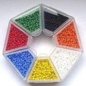Nellie Snellen rocailles glaskraaltjes - 2mm -7 kleuren blauw/rood/groen/geel/oranje/wit/zwart kleine kraaltjes doosje-5