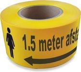 Afzetlint 75 mm x 100 meter geel lint met 1.5 meter afstand (027.0071) + Kortpack pen