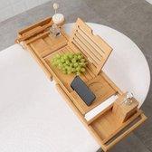 Decopatent® Luxe Badplank - Badrekje - Uitschuifbaar 75 tot 110 cm - Boekenhouder - Tablethouder - Bamboe Hout badplankje - Badrek