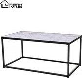 Urban Living - Metalen Salontafel met marmerlook - Industrieel design - Metalen frame - 110x60x50