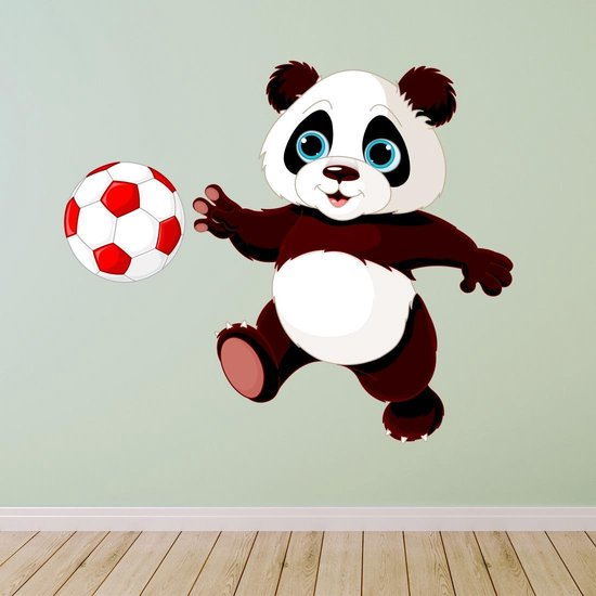 Voetballende panda muursticker