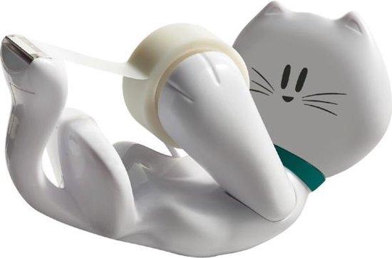 Scotch® Tape Dispenser  Design Cat, Wit + 1 Rol Scotch® Magic™ Tape 19mm x 8.89m