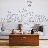 Muursticker Voor De Babykamer - Kraam Cadeau - Muursticker Kinderkamer - Wanddecoratie Kinderkamer - Jongen - Meisje - Dieren - Industriële Muursticker Kinderkamer - Dieren - Zwart | Wit