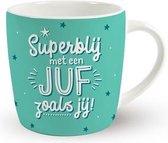 Einde schooljaar- Mok - Superblij met een Juf zoals jij! - Gevuld met een toffeemix - In cadeauverpakking met gekleurd lint