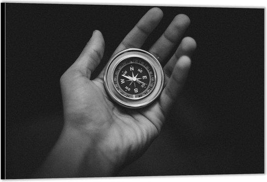Dibond –Kompas in Hand– 40x30 Foto op Aluminium (Met ophangsysteem)