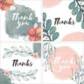 Bedankkaarten - Set van 8 x bedankkaart - 14 cm x 14 cm - Inclusief envelop