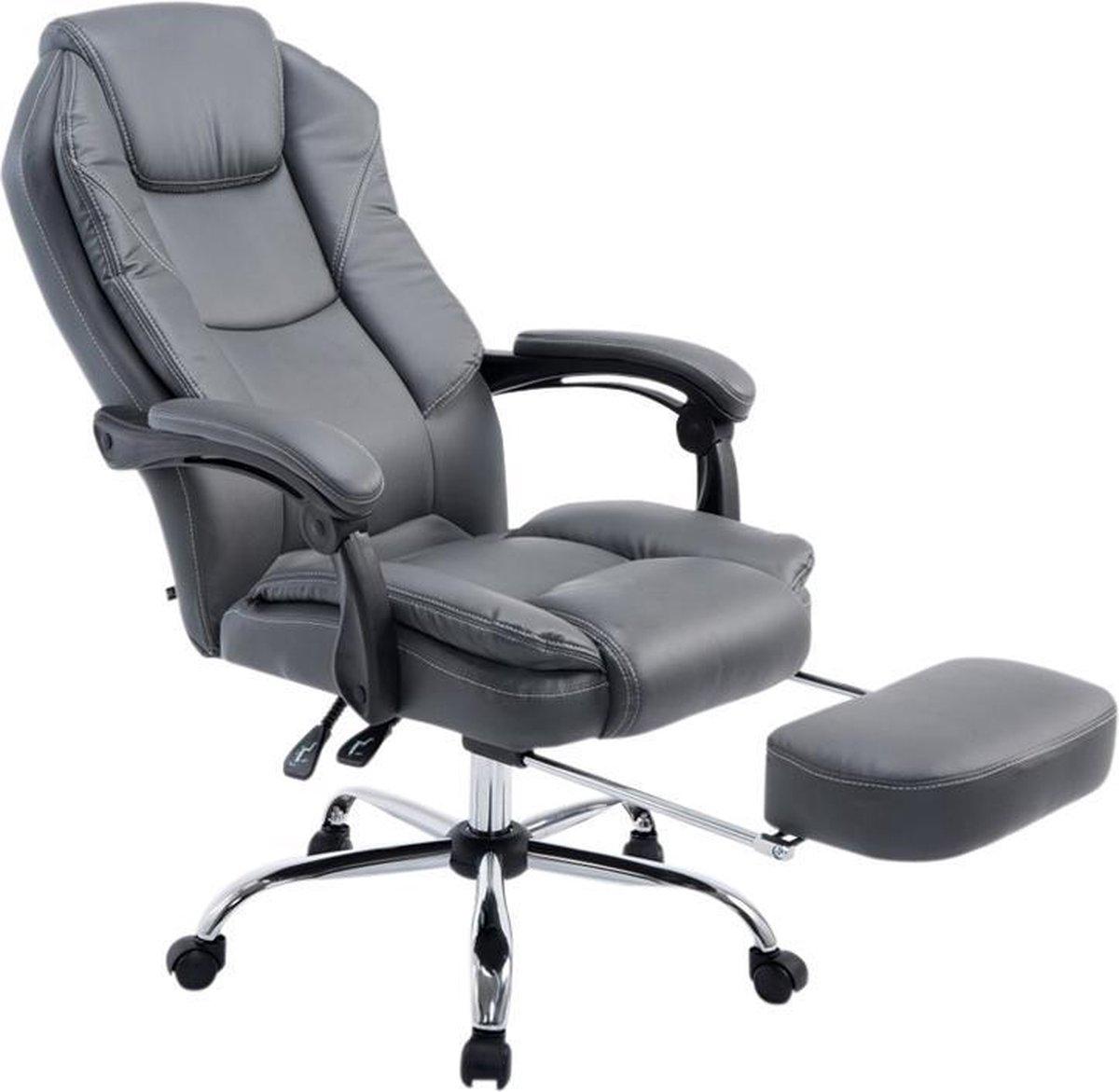 Bureaustoel - Ergonomische bureaustoel - Voetensteun - Kunstleer - Grijs - 64x67x114 cm