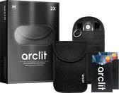 Arclit® | 2x Autosleutel RFID Anti-Diefstal Beschermhoes + 2x RFID kaarthouders | 2Pack | Keyless Entry Beveiliging Hoesje | Signaal Blokkerende Beschermhoes | Voordeelverpakking | Maat M