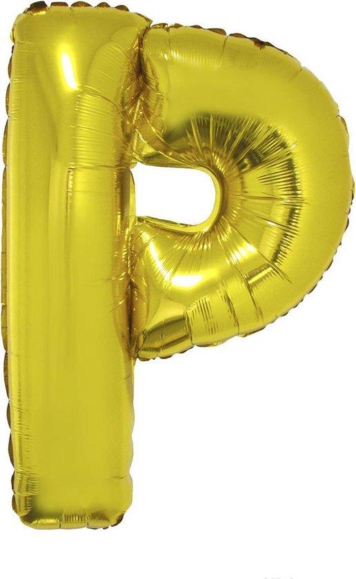 Grote folie ballon letter P Goud