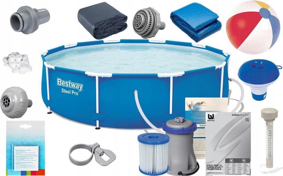 Zwembad de Luxe 366x76 cm - inclusief heel veel accessoires - buiten opzetzwembad
