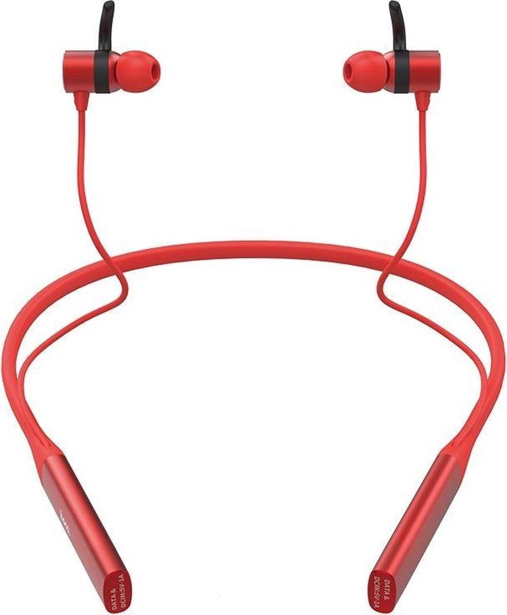 Hoco S18 – 2 in 1 Sport Rood – Draadloze Bluetooth in-ear oortjes met nekband – Magnetisch – IPX5 – Hi-Res